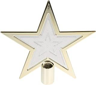Clever Creations Gold & White Star Christmas Tree Topper Festive Christmas Decor   Sparkling Gold & White Shatter Resistant Plastic   8