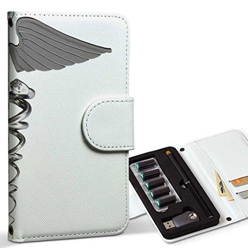 スマコレ ploom TECH プルームテック 専用 レザーケース 手帳型 タバコ ケース カバー 合皮 ケース カバー 収納 プルームケース デザイン 革 ユニーク 羽 翼 シルバー 002953