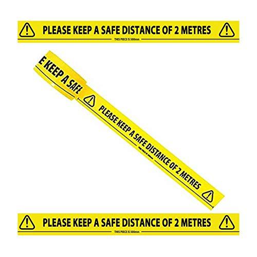 Cinta de advertencia amarilla con cinta adhesiva de tela de sarga negra con mensaje de seguridad para mantener la distancia del suelo cinta de advertencia de PVC impermeable resistente al desgaste para el lugar de trabajo, zonas de peligro 33 x 48 mm