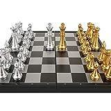 Mjd Ajedrez ajedrez ajedrez Internacional estupenda Internacional de Ajedrez Juego magnética Placa Plegable con los de Plata de Oro 32 Internacional de Ajedrez (tamaño : 36x36 cm)