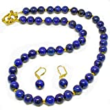 Blue Lapis Lazuli Gemstone Necklace Jewelry Set with Earrings