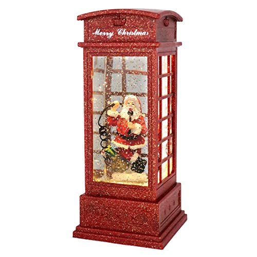 Wondise Telephone Booth Snow Globe Lantern Battery Operated and Timer, Christmas Snow Globe Lantern Spinning Water and Swirling Glitter Thanksgiving (Santa)