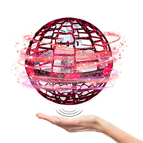 Flying Ball Toys【2021 Upgraded】Globe Shape Magic Controller Mini Drone Flying Toy, Built-in RGB Lights Spinner 360° Rotating Spinning UFO Safe for Kids Adults Magic Flying Toys Outdoor Indoor (Red)