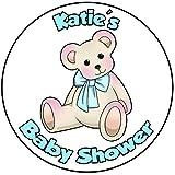 Decoración para tarta de baby shower, redondo, círculo de 20 cm, diseño azul
