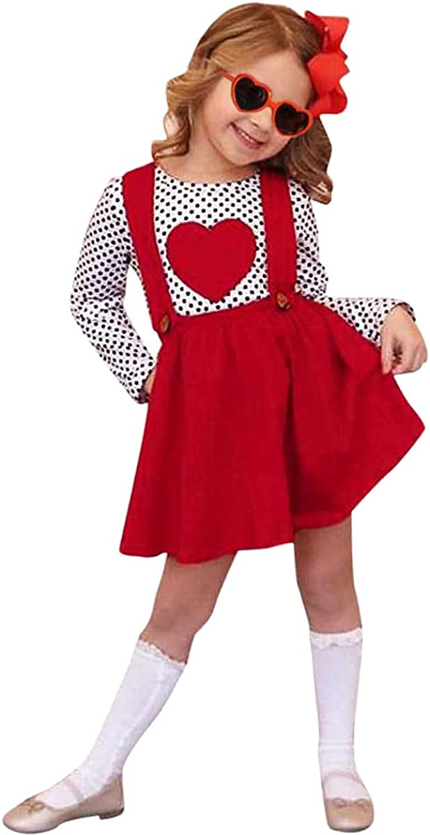 Toddler Baby Girl Valentine's Day Outfit Long Sleeve Dot Heart Shirt Top+Suspender Strap Red Skirts Set(18M-6T)