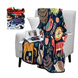 Britimes Fuzzy Flannel Navy Throw Blankets, Soft Blankets and Throws, Daughter Mom Friend Gift Forest Animals Fox Deer Print Decorative Throw Blankets for Couch, 50'X60'