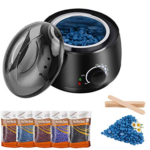 LKKRO Waxing Kit, Home Waxing Hair Removal kit, LKKRO Brazilian Wax Melting Pot with 5 Bags Hard Wax Beans & 10 Applicator Sticks