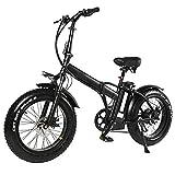 Bicicleta eléctrica plegable bicicleta de montaña para adultos, de 20 pulgadas con motor extraíble de iones de litio de 48V 500W de alta velocidad, velocidad 7 Shifter, 4,0 pulgadas de Neumáticos