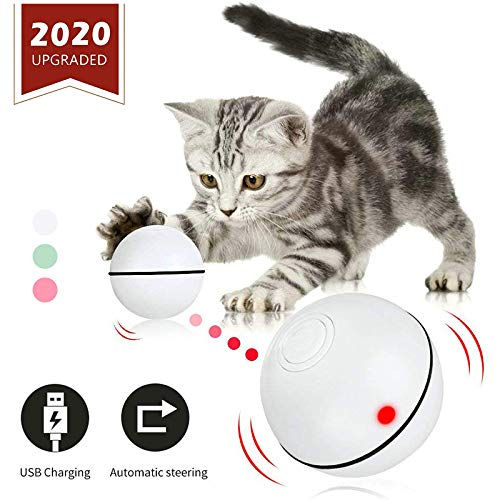 GEEPET Interactive Cat Toys Ball Smart Automatic Rolling Kitten Toys USB Rechargeable Motion Ball Spinning Led Light with Timer Function