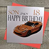 White Cotton Cards Code n62-s18 Orange Sport Voiture Fils 18 Carte d'anniversaire 18e Anniversaire Inscription Happy. Enjoy Fait Main