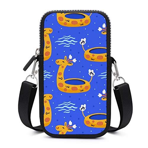 Bolso bandolera para teléfono móvil con correa de hombro extraíble anillo jirafa resistente al desgaste bolsa para teléfono muñeca cartera gimnasio fitness bolsas niñas