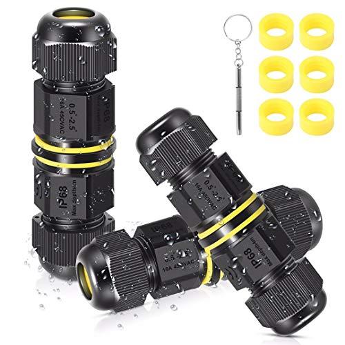 Kabelverbinder Wasserdicht IP68 3 Polig Verbindungsbox für Erdkabel mit Mini Schraubendreher und 6 Stück Gummiringe, 3 Stück Verteilerdose Abzweigdose Verbindungsmuffe für Ø5-12 mm Kabeldurchmesser