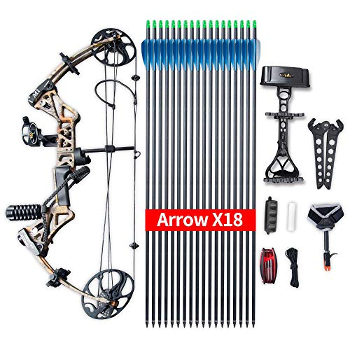 "Compound Bow Ship from USA Warehouse,Topoint Archery Package,M1,19""-30"" Draw Length,19-70Lbs Draw Weight,320fps IBO Limbs Made in USA (Forest camo)"