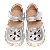 LilyPipSqueak Boutique Toddler Size 3-10 Girl's Squeaky Shoes Petal Silver-Free STOPPERS (8 Toddler)