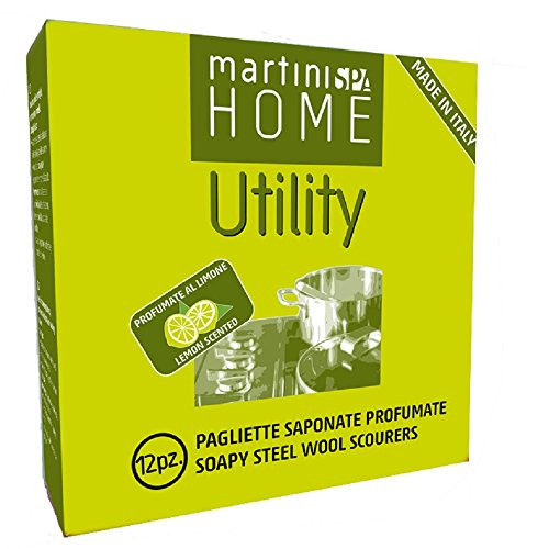 MartiniSPA Home Utility 0204B00 Pagliette Saponate Profumate al Limone, Acciaio e Sapone, Argento, 14.5x14.5x4.9 cm, 12 unità