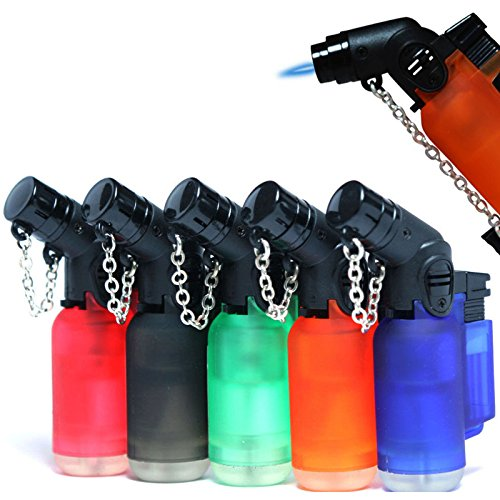 Pack of 5 Eagle Angle Torch 45 Degree Single Jet Flame Torch Lighter Windproof Refillable Lighter Assorted Color