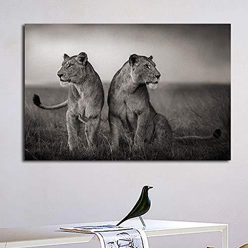 Afrikanische Zwei Löwenplakat wildes Tier freie Kunst Leinwandmalerei Wandgemälde Hauptdekoration,Rahmenlose Malerei,45x90cm
