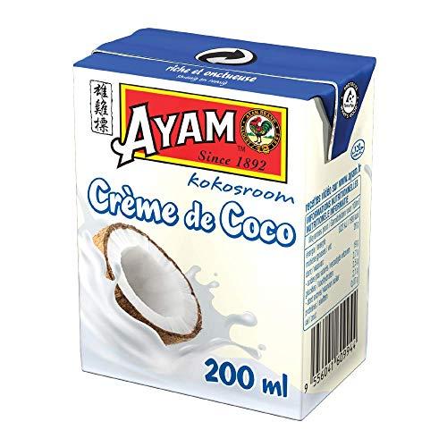 AYAM Crème de Coco   Goût Authentique   Noix de coco Fraîches   Haute Qualité   Alimentation Saine   Lait Végétal   Sans Lactose   Sans Gluten   Sans Conservateurs - 200ml
