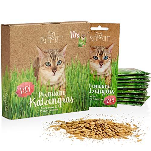 PRETTY KITTY Sachets de graines d'herbe à chat; Sachet de semence de Menthe aux chats pour...