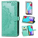 SENSBUN Funda tipo cartera para Samsung Galaxy A60, con 2 protectores de pantalla de cristal templado con diseño de mandala en relieve, funda de silicona con ranura para tarjeta y soporte, color verde
