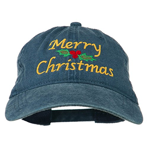 e4Hats.com Merry Christmas Mistletoe Embroidered Washed Dyed Cap - Navy OSFM