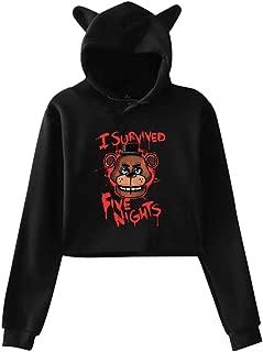Five-Nights-at-Freddy Printed Girls Hipster Cat Ear Hoodie Sweater Trendy Black Sweatshirt Hoodies