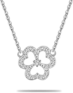 925 Sterling Silver Irish 3 Leaf Shamrock Pendant Necklace for Women, Cubic Zirconia Jewelry with Gift Box, Perfect for Her