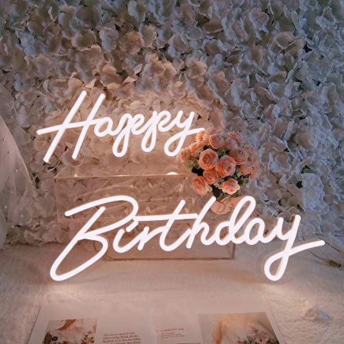 Divatla Happy birthday Neon Sign for any Age, such as your kids 1st Birthday, party in the home etc Favors, It's 2 separate words. Size-Happy 16.5X8inches, Birthday 23 X 8inches