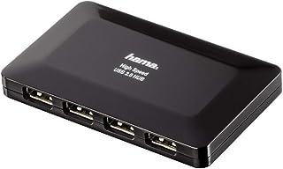 HAMA Hub USB 2.0, 4 Porte, Alimentato, Nero