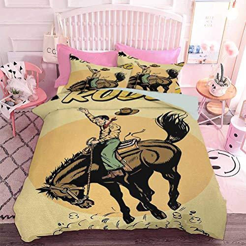 Hiiiman Juego de ropa de cama de 3 piezas estilo antiguo arte de Rodeo Cowboy montar caballo americano salvaje oeste trabajo artístico (3 piezas, tamaño doble) sin inserto