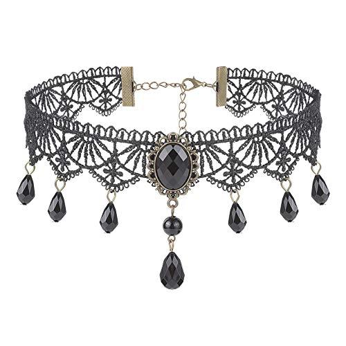 Diealles Shine Gargantilla de Encaje Gotico , Collar de Encaje Negro para Mujer