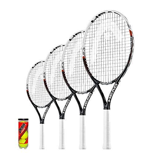 Head Speed - Raqueta de tenis infantil + 3 pelotas de tenis (19,21,23, 25 y 26), tamaño 23