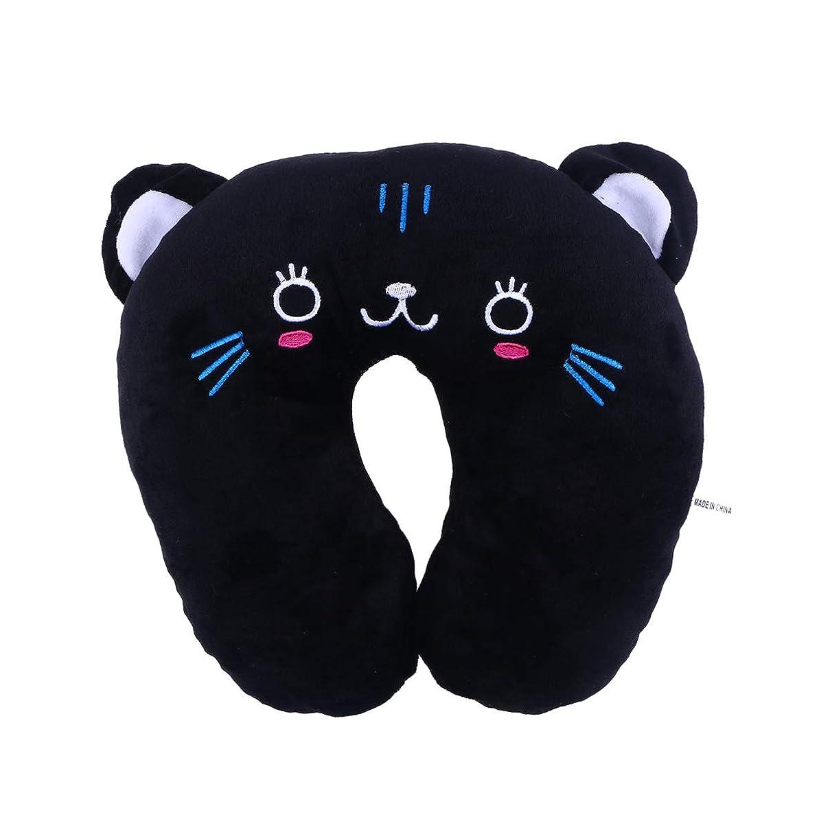 自発的野望数学者HEALIFTY 首牽引枕漫画ぬいぐるみU字型枕首サポートクッション旅行枕飛行機のための車(黒猫)