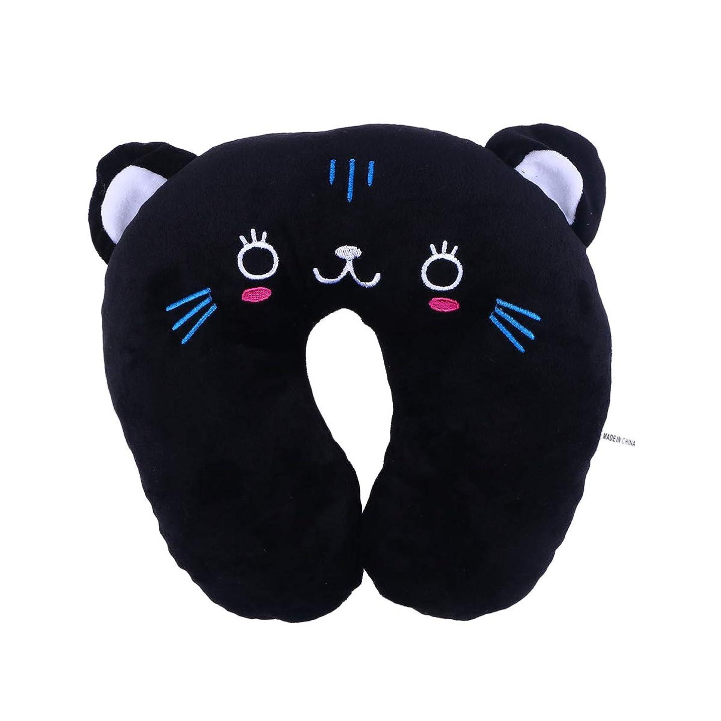 真実に曖昧な背が高いHEALIFTY 首牽引枕漫画ぬいぐるみU字型枕首サポートクッション旅行枕飛行機のための車(黒猫)