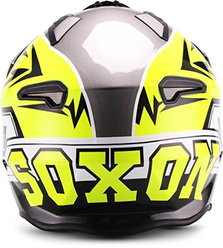 Soxon SR-400 Storm Casco de Moto, Neon, L (59-60cm)
