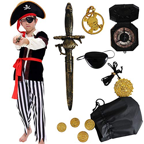 Pirate Costume Kids Deluxe Costume Pirate Dagger Compass Earring Purse for Halloween Party (L)