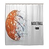 CPYang Duschvorhänge Basketball Sport Wasserdicht Schimmelresistent Badevorhang Badezimmer Home Decor 168 x 182 cm mit 12 Haken