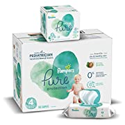 Diapers Size 4, 150 Count and Baby Wipes - Pampers Pure Protection Diapers and Aqua Pure 6X Pop-Top Sensitive Water Baby Wipes, 336 Count (Packaging May Vary)