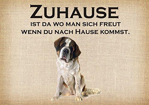 Creativ Deluxe Zuhause - Bernhardiner - Fussmatte Bedruckt Türmatte Innenmatte Dreckmatte lustige Motivfussmatte