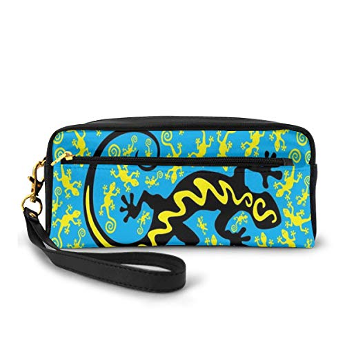 Pencil Case Pen Bag Pouch Stationary,Hawaiian Exotic Lizard Dancing with Many Mascots on Ground Fun Illustration,Small Makeup Bag Coin Purse