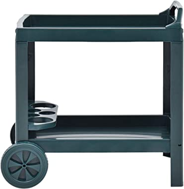 vidaXL Beverage Cart Bar Serving Cart Party Drink Tray Furniture Tea Drinking Holder Trolley Portable Kitchen and Dining Gree