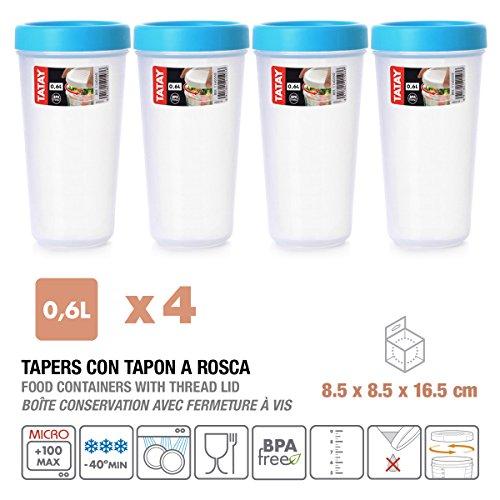 Tatay 1160800 Lote de 4 Tapers 0.6 L. con Rosca Azul Turquesa