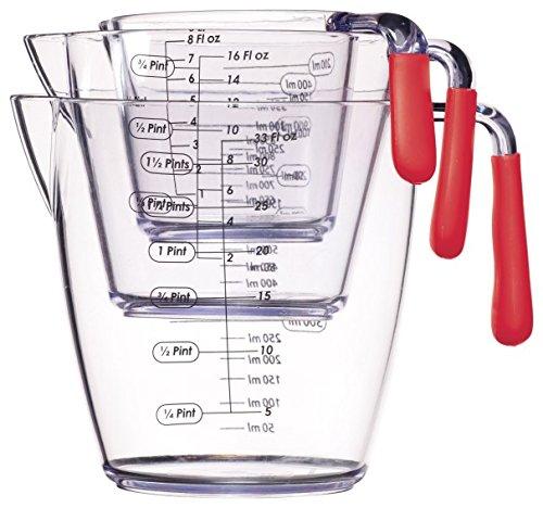 Colourworks CWMJUGSETRED - Juego de 3 jarras medidoras de acrílico, 200, 400 y 900 ml, Color Rojo