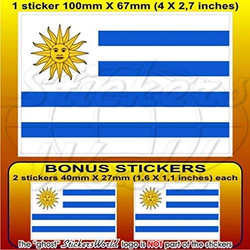 uruguay Drapeau Uruguay Amérique du Sud, 10,2 cm Bumper Sticker en vinyle (100 mm), en x1 + 2 Bonus
