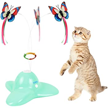FLURFF Cat Toys Interactive, Automatic Electric Rotating Butterfly Cat Toy, Funny Exercise Cat Teaser Toy, Flutter Spinning Battery Operated Kitten Toy, 2 Butterfly Replacements
