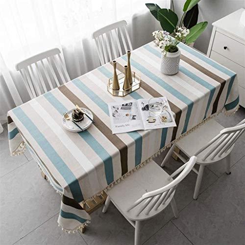 Tassel de rayas Comedor Mantel nórdico Japonés Simple moderno Sala de estar Mesa de comedor Mantas de mesa rectangular Diseño de rayas, lavable y a prueba de polvo, usado para mesas rectangulares