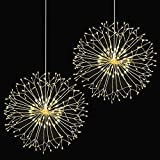 Fairy String Lights, Wellerly 2 Pack 8 Modes 198 LED Fireworks Starburst Dandelion Fairy Lights Battery Operated DIY Hanging Remote Control Waterproof Decorative Sliver Wire for Party - Warm White