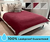 Blue Zoca 100% Waterproof Blanket | Totally Leak and Pee Proof 3 Layer Cozy Dog Blanket for Couples, Pets, Picnics, Beach, Camping | EZ Clean-Merlot