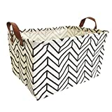 MMSD Storage Bin, Collapsible Canvas Organizer Basket for Laundry Hamper, Toy Bins,Gift Baskets, Bedroom, Clothes, Perfect for Kid Rooms Baby Nursery Anchor Hamper