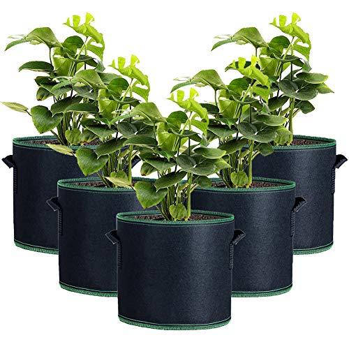 Zhongtou 5 Pezzi Grow Bags for Vegetables Borsa per la coltivazione di pomodori in tessuto non tessuto con finestra e manici Borsa per patate per carote, fragole, frutta e ortaggi e vasi da giardino